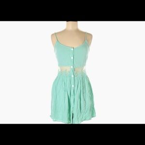 Tobi Short Teal Romper with Embroidered Detail